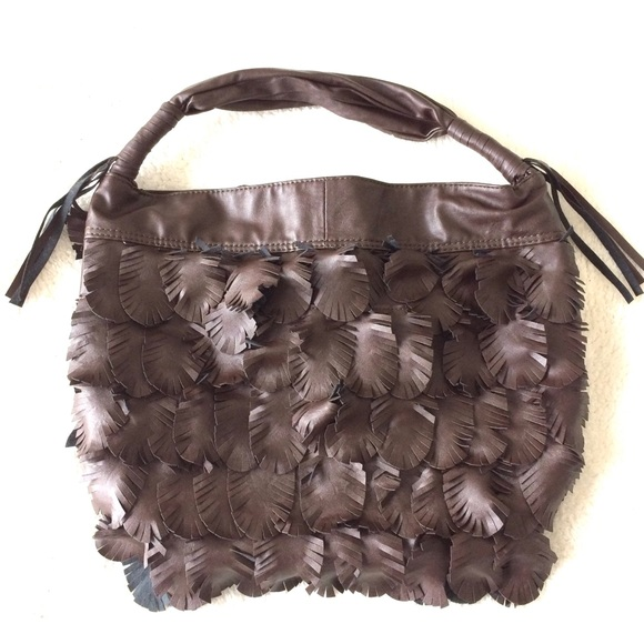 GAL Handbags - Brown Faux Leather Hobo Bag with Feather Detail